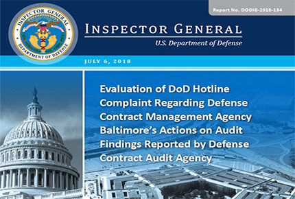Evaluation of DoD Hotline Complaint Regarding DCMA Baltimore's Actions on Audit Findings Reported by DCAA