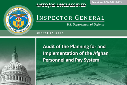 Audit of the Planning for and Implementation of the Afghan Personnel and Pay System