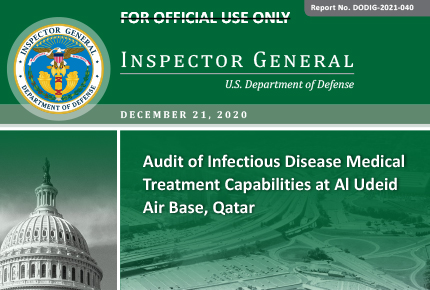 Audit of Infectious Disease Medical Treatment Capabilities at Al Udeid Air Base, Qatar